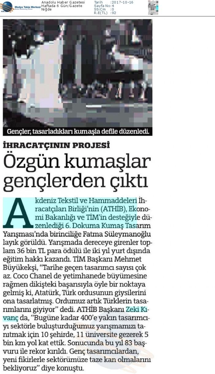 Anadolu_Haber_Gazetesi-ÖZGÜN_KUMAŞLAR_GENÇLERDEN_ÇIKTI-16.10.2017
