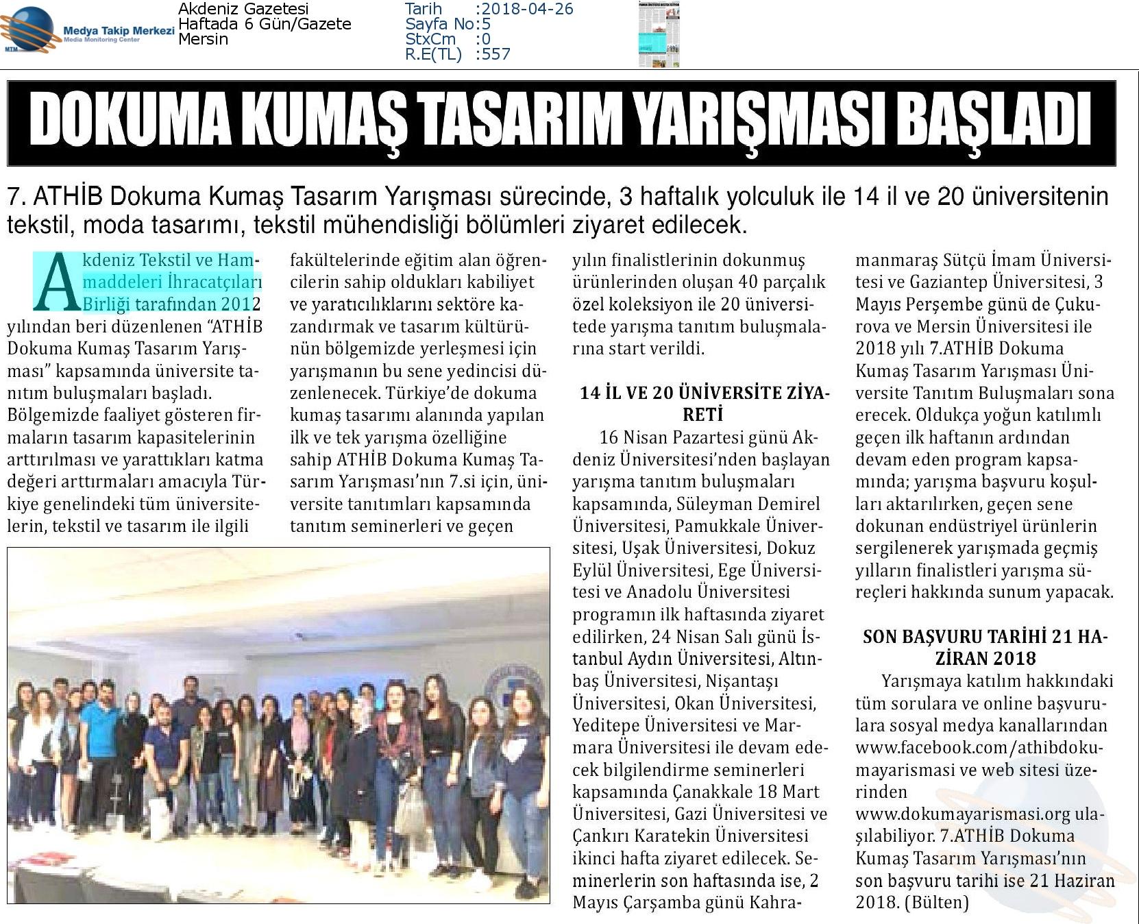 Akdeniz_Gazetesi-DOKUMA_KUMAŞ_TASARIM_YARIŞMASI_BAŞLADI-26.04.2018